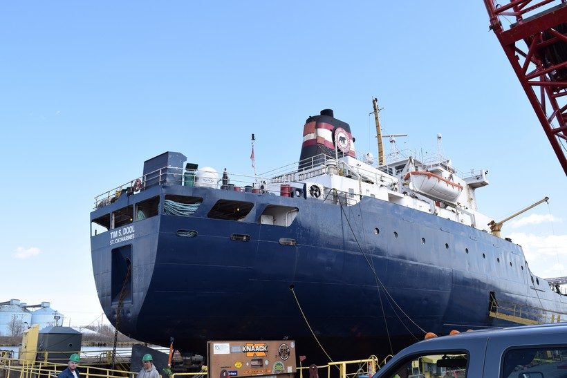 The Tim S. Dool vessel sits in a dry dock at Fraser Shipyards in Superior