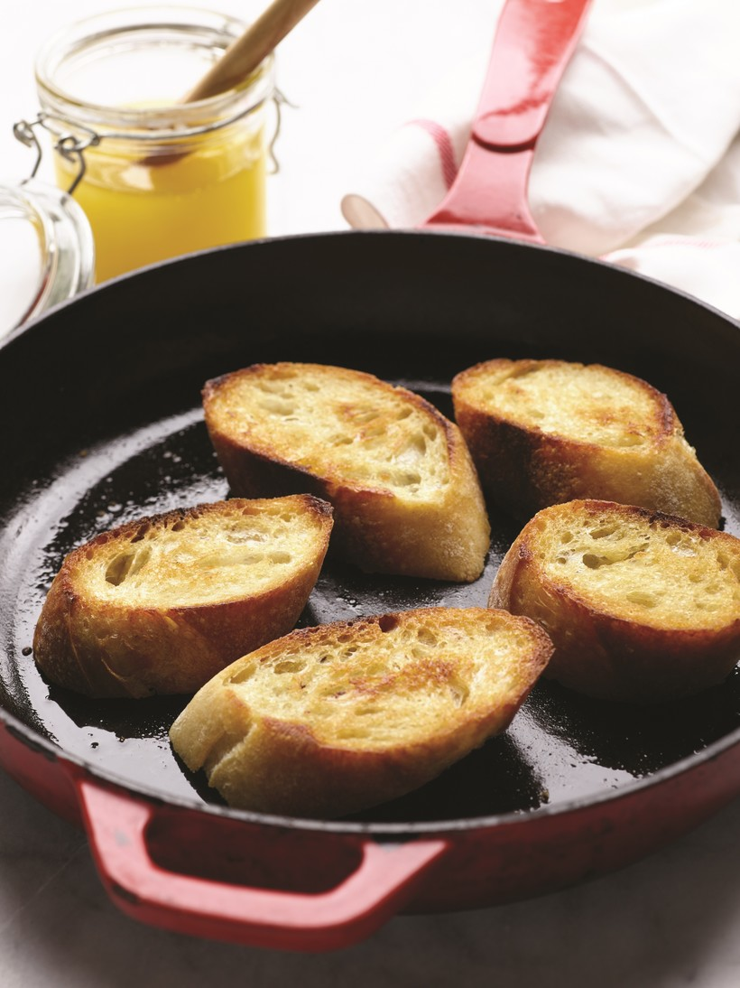 Pan-toasted rustic bread