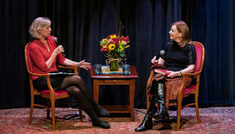 """To The Best Of Our Knowledge"" host Anne Strainchamps (left) interviews ""The Library"" author Susan Orlean"