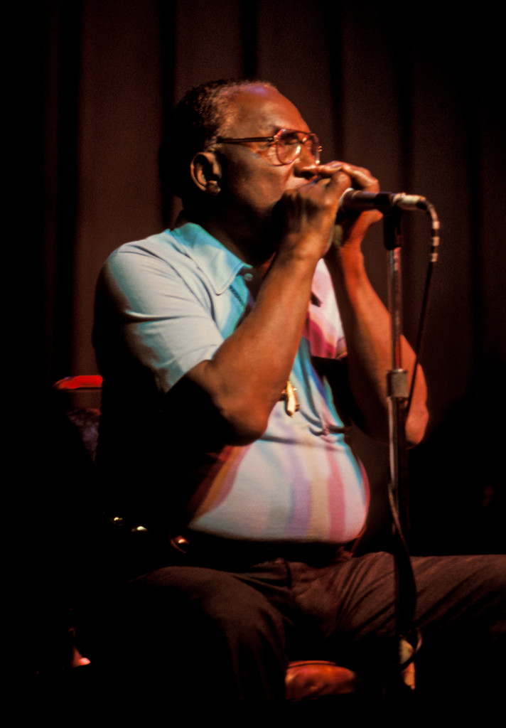 Sonny Terry playing harmonica