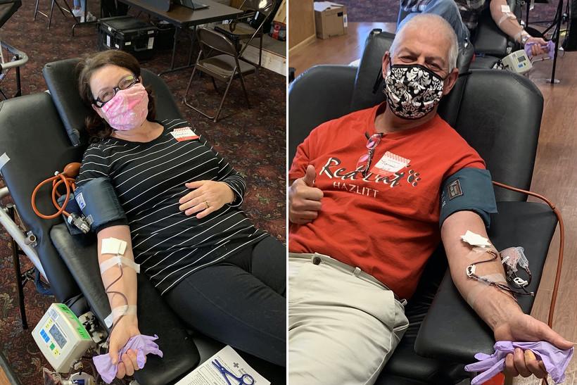 Pam Moen-Thieding and Tom Thieding donate blood