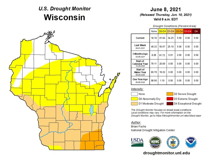Wisconsin drought map as of June 8, 2021.