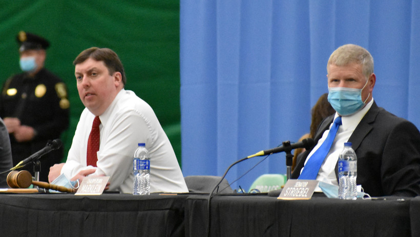 Rep. Mark Born, left, and Sen. Howard Marklein, right, hear testimony at the state budget hearing in Rhinelander
