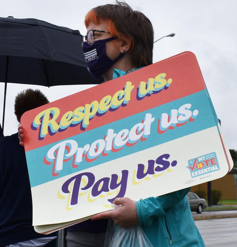 SEIU organizer Amy Dummer demonstrates in Wisconsin Rapids