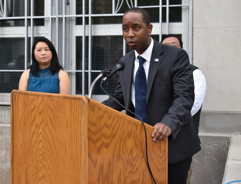 Marathon County Board member William Harris speaks at Tuesday's press conference