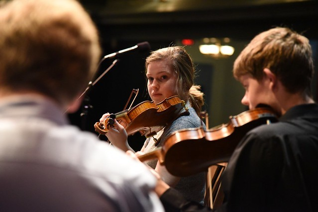 Members of WYSO playing at UW Madison's Music Hall