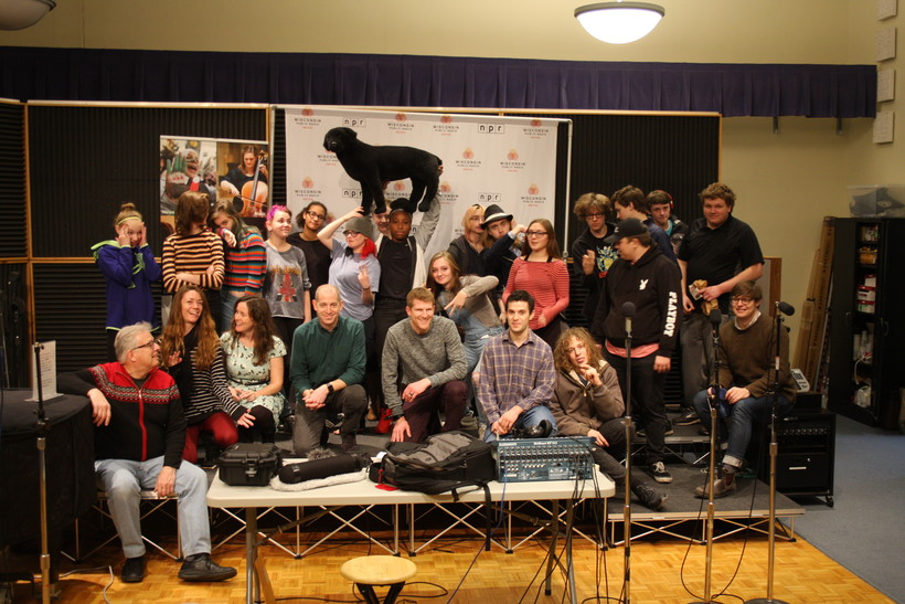 Monona Grove Liberal Arts Charter School Students and WPR staff in Buck Studio at WPR Studios in Madison