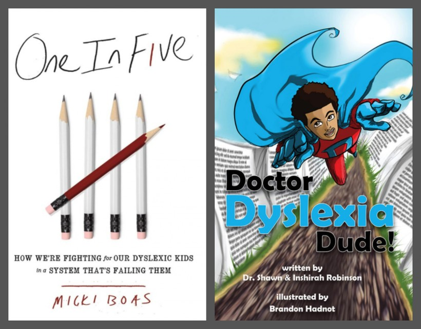 The covers of two books about dyslexia