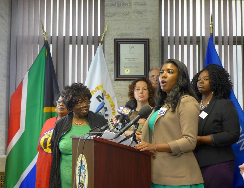 Milwaukee County Supervisor Marcelia Nicholson announces her plan to raise the Milwaukee County minimum wage