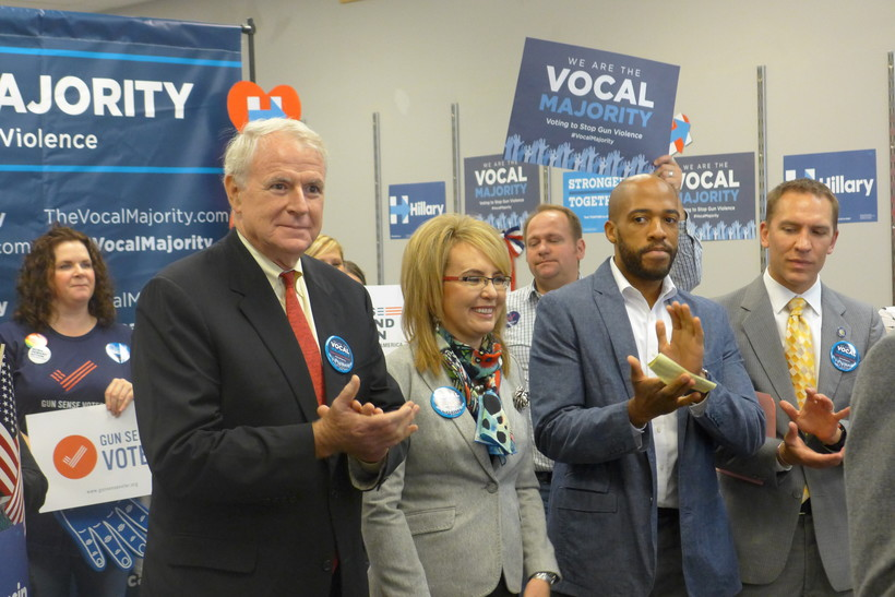 Former Congresswoman Gabby Giffords campaigns in Milwaukee with Mayor Tom Barrett and other democratic leaders