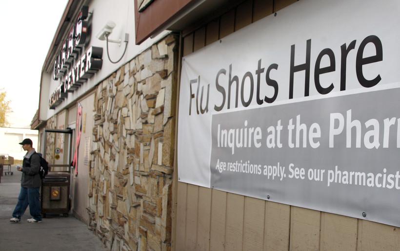 """Flu shots here"" sign"