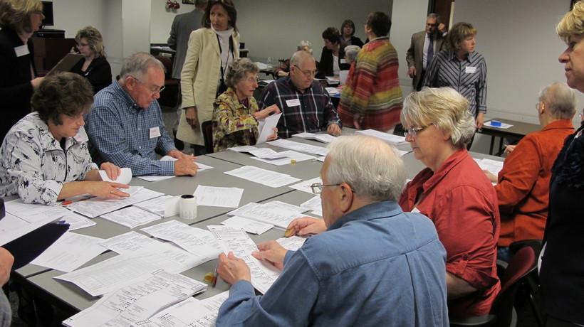 Poll workers in Waukesha, Wisconsin