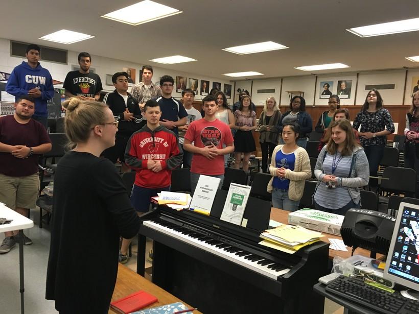 Ronald Reagan High School Choir Instructor Erica Breitbarth teaches a music class.