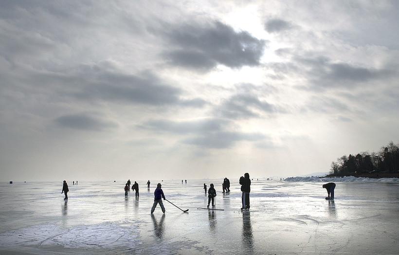 Children skating on Lake Superior
