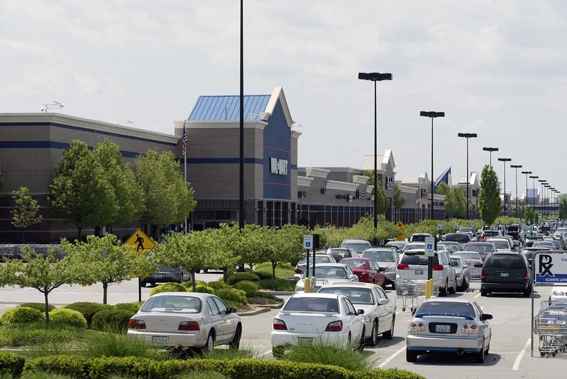 A line of big box stores