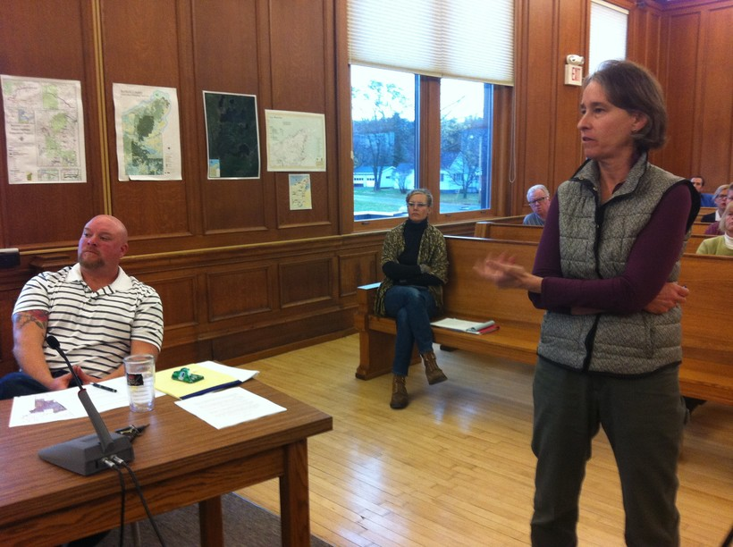 Madeline Gotkowitz speaking before a county committee about the well and groundwater findings.