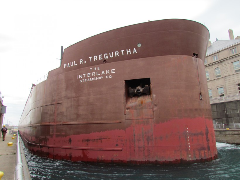 large ship in port