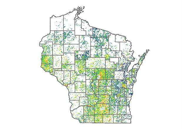 A map of nitrate concentration in Wisconsin private wells.