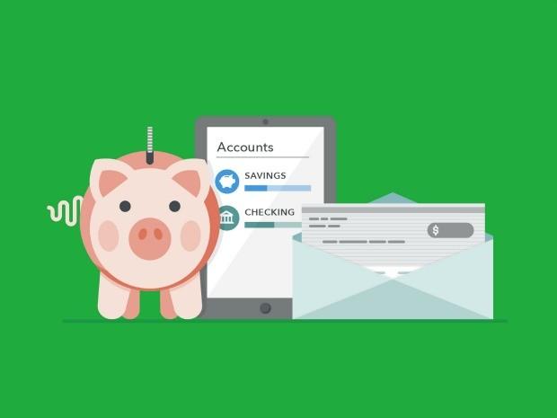 Illustration of piggy bank, bank account balance and paycheck