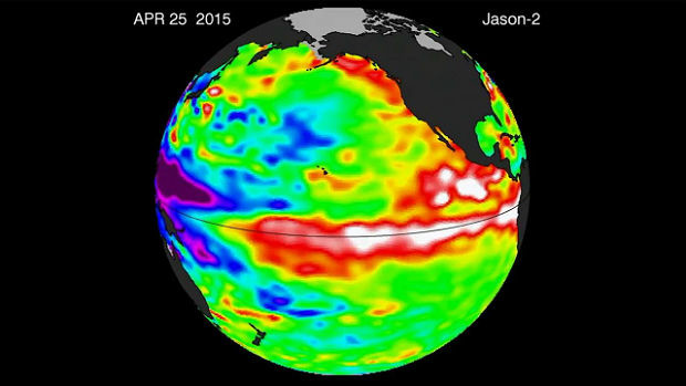 The Ocean Surface Topography Mission on the Jason-2 satellite measures oceanic topography to determine water temperature differences.