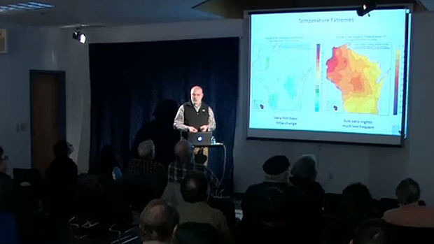 University of Wisconsin-Extension stormwater specialist David Liebl discusses climate change data in Wisconsin on February 10, 2015.