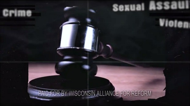 Screenshot of a Wisconsin Alliance for Reform ad in the 2016 Wisconsin Supreme Court race