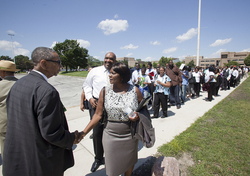 U.S. Rep. Bobby Rush, D-Ill, greets job seekers at an Illinois job fair in 2011.