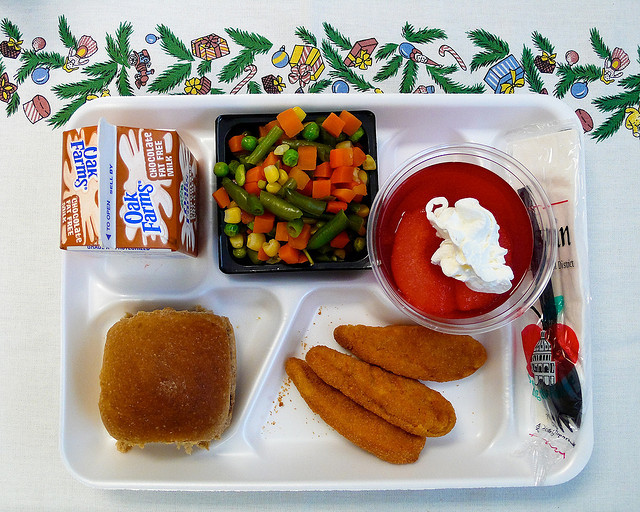 school lunch tray with food
