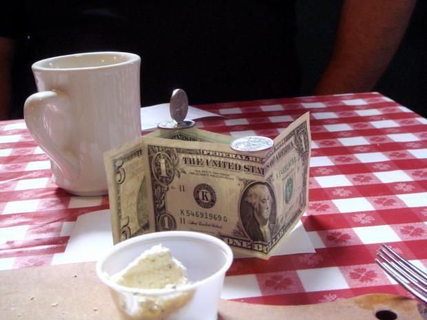 Tip on restaurant table