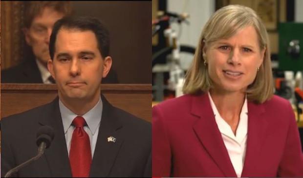 Gov. Scott Walker and Mary Burke