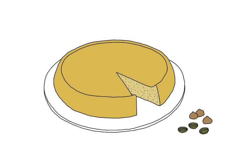 Illustration of a hazelnut coffee cake by Johanna Kindvall