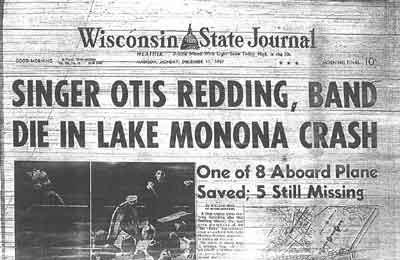 Headline announcing Otis Redding's death