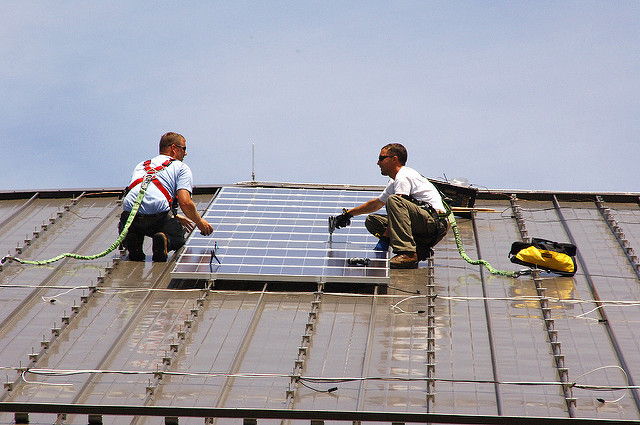 solar panel installation, US Army Environmental Command (CC-BY)