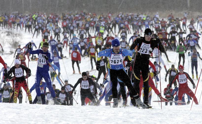 Skiers at the American Birkebeiner