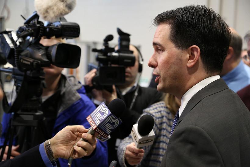 Gov. Walker address the media