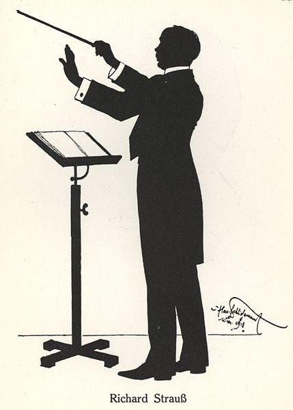 Richard Strauss silhouette created by Hans Schliessmann in Vienna in 1918