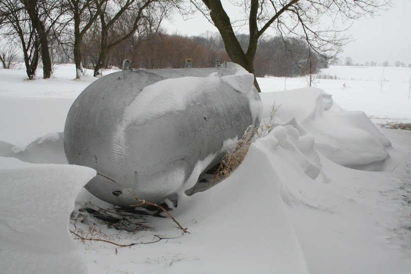 propane tank in winter