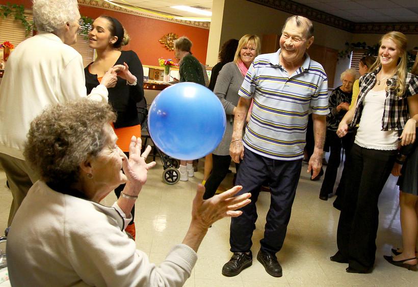 Senior citizens at a nursing home