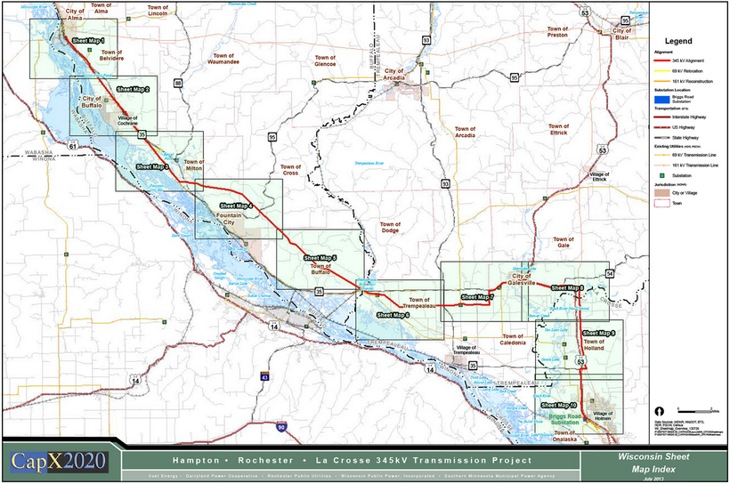 CapX2020 proposed route line in SW Wisconsin
