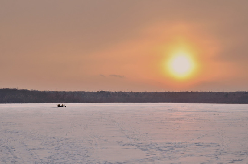 ice fishers on lake Wingra