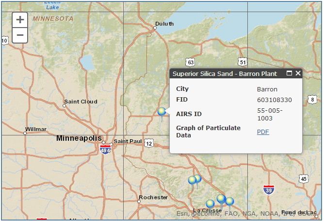DNR sand mine air quality reporting map