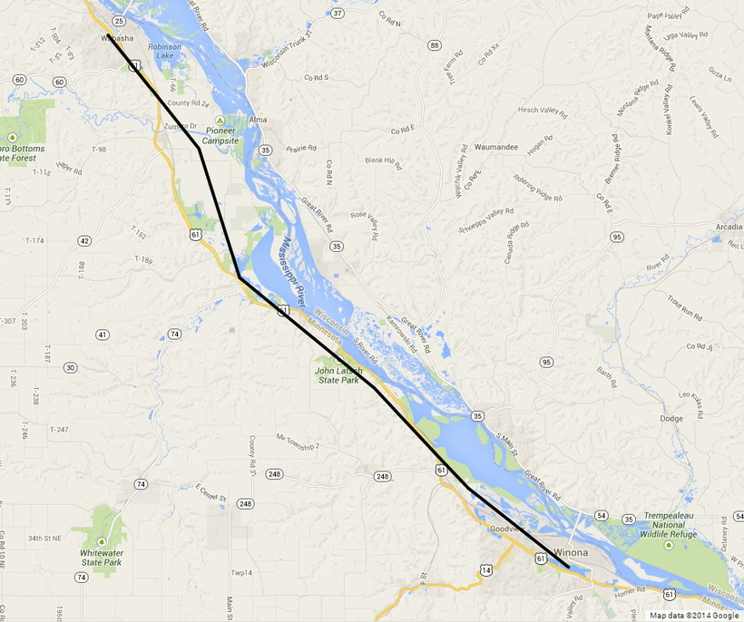 map of Wabasha MN to Winona MN