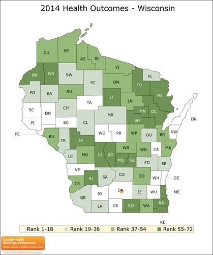 Wisconsin county health rankings, 2014