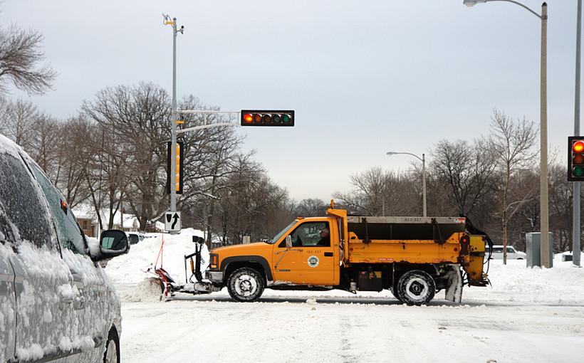 Plow truck with salt spreader, in Milwaukee