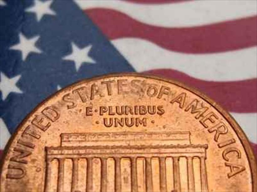 penny over U.S. Flag