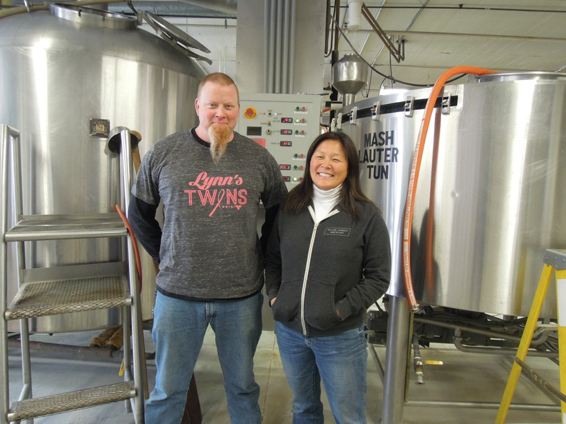 Pearl Street Brewery Brewmaster Joe Katchever and Sales and Marketing Director Tami Plourde at their brewery.