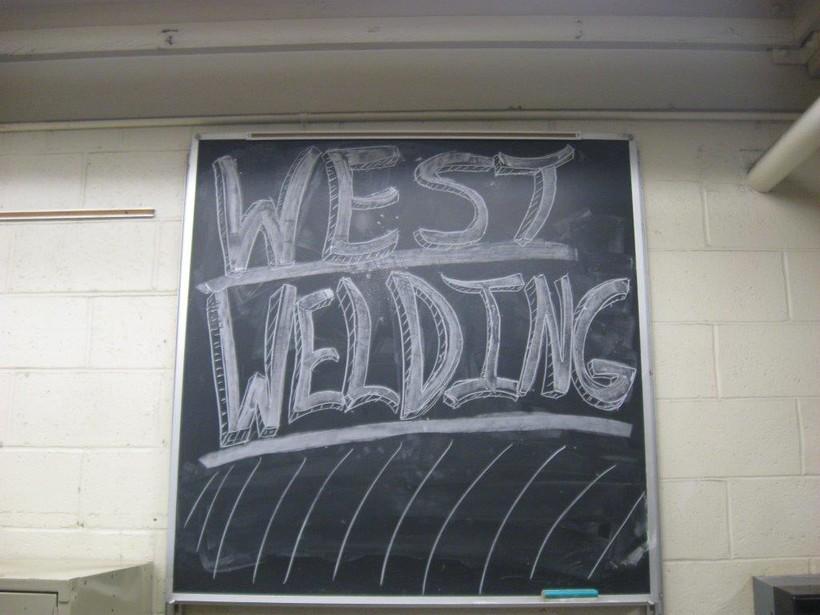 chalkboard in a welding class at Green Bay West High School.