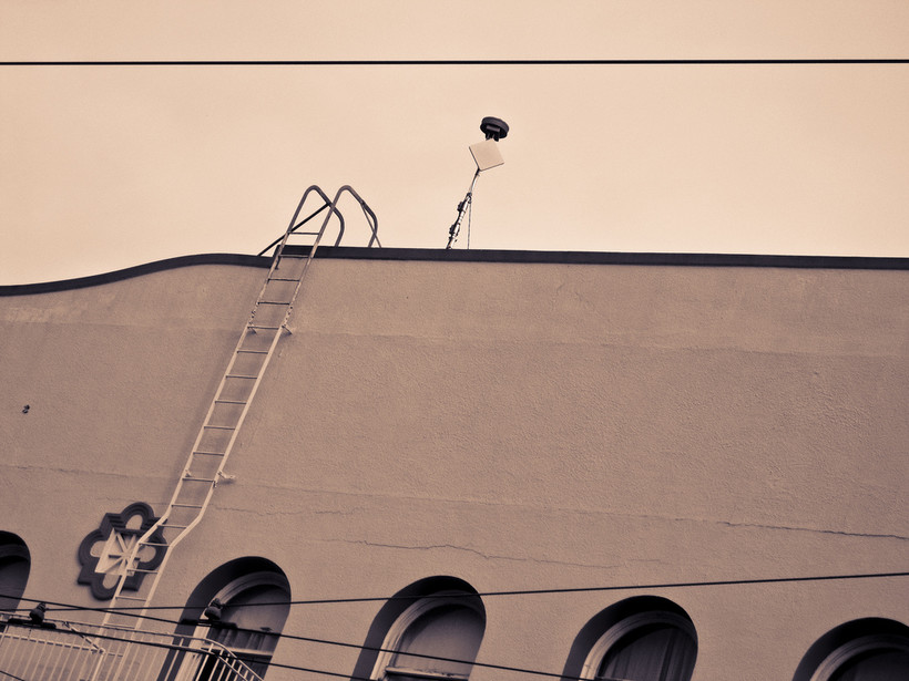 A gunfire detection microphone in Mission Dolores, California