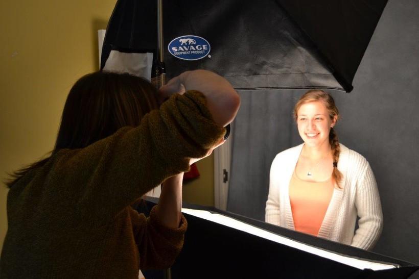 Rachel Crowl takes a picture of Lawrence University senior Taylor Tomaszewski.