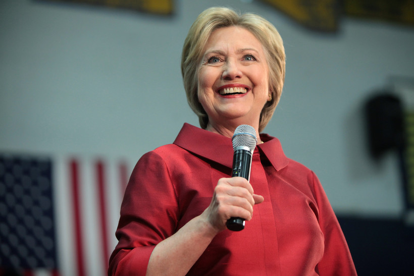 Hillary Clinton speaks to a crowd